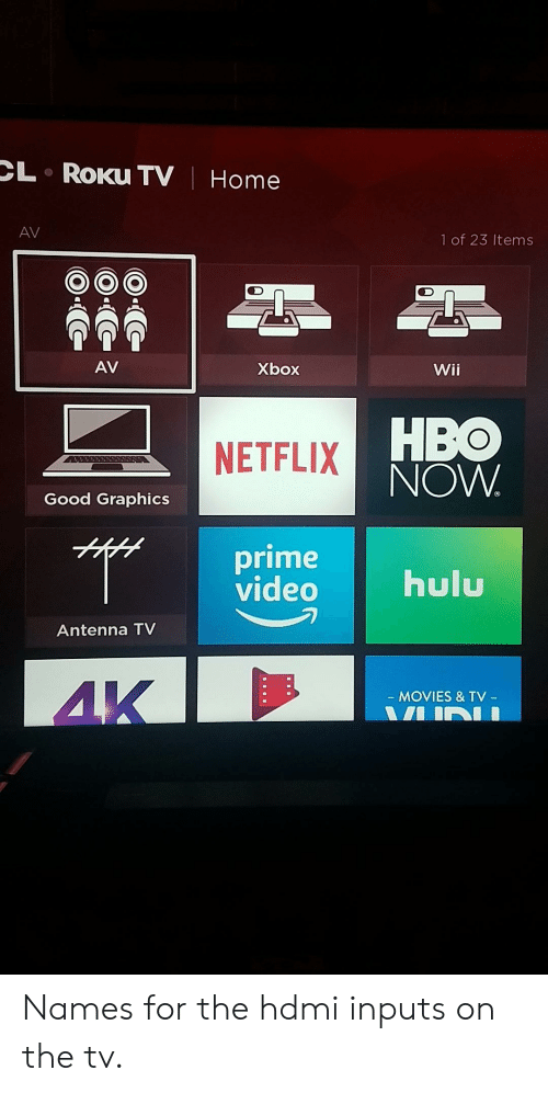 Hbo, Movies, and Netflix: CL  RoKu TV| Home  AV  1 of 23 Items  AV  bar  Wii  HBO  NOW  NETFLIX  Good Graphics  prime  videohl  Antenna TV  4K  MOVIES & TV  -  - Names for the hdmi inputs on the tv.