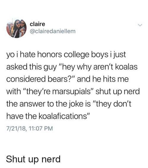 """College, Memes, and Nerd: claire  @clairedaniellem  yo i hate honors college boysi just  asked this guy """"hey why aren't koalas  considered bears?"""" and he hits me  with """"they're marsupials"""" shut up nerd  the answer to the joke is """"they don't  have the koalafications""""  7/21/18, 11:07 PM Shut up nerd"""