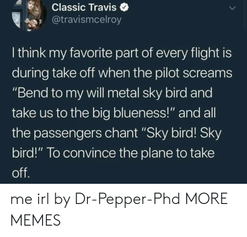 "Dank, Memes, and Target: Classic Traviso  @travismcelroy  I think my favorite part of every flight is  during take oft when the pilot screams  ""Bend to my vwill metal sky bird and  take us to the big blueness!"" and all  the passengers chant ""Sky bird! Sky  bird!"" To convince the plane to take me irl by Dr-Pepper-Phd MORE MEMES"