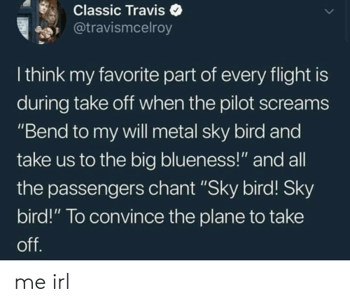 "Flight, Irl, and Metal: Classic Traviso  @travismcelroy  I think my favorite part of every flight is  during take oft when the pilot screams  ""Bend to my vwill metal sky bird and  take us to the big blueness!"" and all  the passengers chant ""Sky bird! Sky  bird!"" To convince the plane to take me irl"