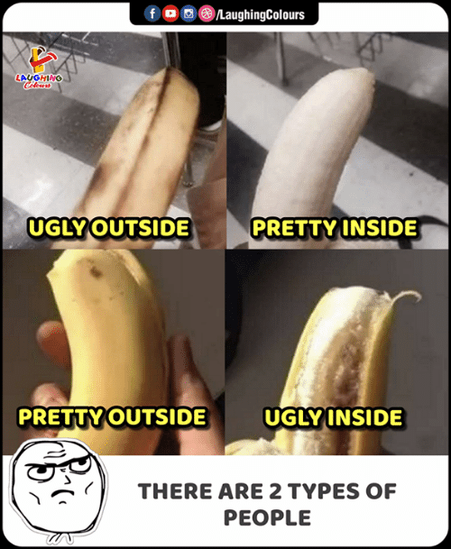 Ugly, Indianpeoplefacebook, and Inside: CLaughingColours  f  LAUGHING  Colours  UGLY OUTSIDE  PRETTY INSIDE  UGLY INSIDE  PRETTY OUTSIDE  THERE ARE 2 TYPES OF  PEOPLE