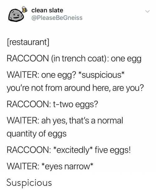 Quantity: clean slate  ッ@PleaseBeGneiss  restaurant  RACCOON (in trench coat): one egg  WAITER: one egg? *suspicious*  you're not from around here, are you?  RACCOON: t-two eggs?  WAITER: ah yes, that's a normal  quantity of eggs  RACCOON: *excitedly* five eggs!  WAITER: *eyes narrow Suspicious