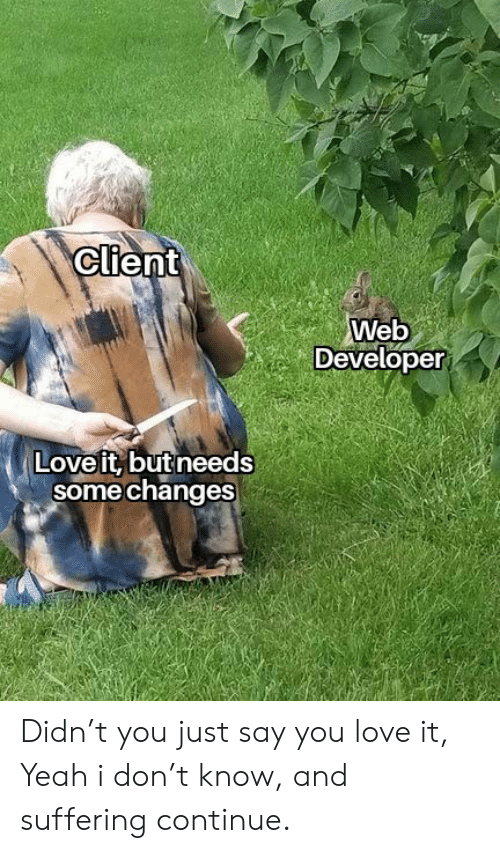 Suffering: Client  Web  Developer  Love it, but needs  some changes Didn't you just say you love it, Yeah i don't know, and suffering continue.