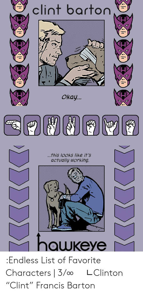 "Target, Tumblr, and Blog: clint barton  Окау.   ...this looks like it's  actually working  hawkeye  ΣΣΣΣ)  ΣΣΣΣΣΣ :Endless List of Favorite Characters | 3/∞     ∟Clinton ""Clint"" Francis Barton"