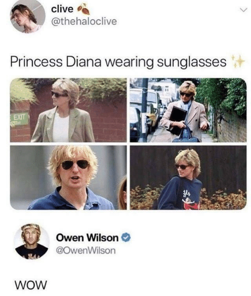 Wow, Owen Wilson, and Princess: clive  @thehaloclive  Princess Diana wearing sunglasses  EXIT  Owen Wilson  @OwenWilson  WOW