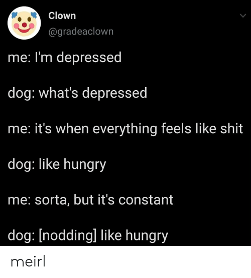 constant: Clown  @gradeaclown  me: I'm depressed  dog: what's depressed  he: it's when everything feels like shit  dog: like hungry  me: sorta, but it's constant  dog: [nodding] like hungry meirl