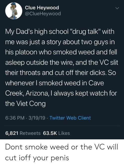 "Smoke Weed: Clue Heywood  @ClueHeywood  My Dad's high school ""drug talk"" with  me was just a story about two guys in  his platoon who smoked weed and fell  asleep outside the wire, and the VC slit  their throats and cut off their dicks. So  whenever I smoked weed in Cave  Creek, Arizona, I always kept watch for  the Viet Cong  6:36 PM. 3/19/19 Twitter Web Client  6,821 Retweets 63.5K Likes Dont smoke weed or the VC will cut ioff your penis"