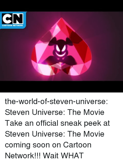 Cartoon Network, Soon..., and Target: CN  CARTOON NETWORK the-world-of-steven-universe:  Steven Universe: The Movie   Take an official sneak peek at Steven Universe: The Movie coming soon on Cartoon Network!!!    Wait WHAT