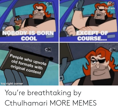 Formats: CN  Got em  EXСЕPT OF  COURSE...  NOBODY IS BORN  COOL  CN  CN  People who upvote  old formats with  original content  top right corner You're breathtaking by Cthulhamari MORE MEMES