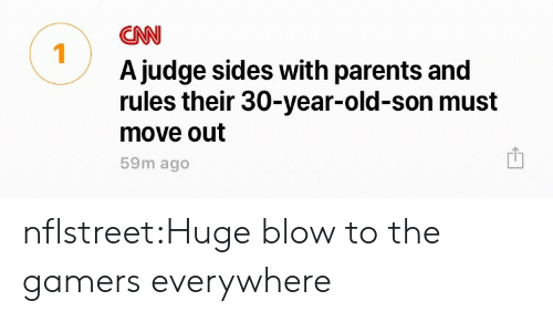 cnn.com, Parents, and Tumblr: CNN  Ajudge sides with parents and  move out  1  rules their 30-year-old-son must  59m ago nflstreet:Huge blow to the gamers everywhere