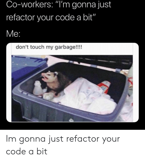 "Co Workers: Co-workers: ""I'm gonna just  refactor your code a bit""  don't touch my garbage!!!! Im gonna just refactor your code a bit"