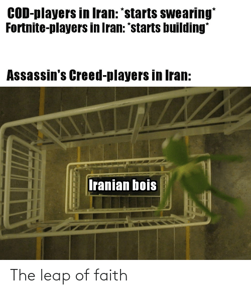 "leap of faith: COD-players in Iran: ""starts swearing*  Fortnite-players in Iran: *starts building*  Assassin's Creed-players in Iran:  Iranian bois The leap of faith"