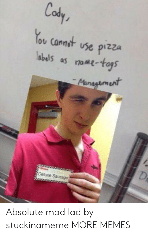 Dank, Memes, and Pizza: Cody  ov Cannot vse pizza  abels as ome-as  Deluxe Sausage Absolute mad lad by stuckinameme MORE MEMES