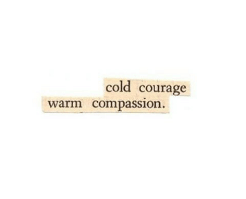 Cold, Compassion, and Courage: cold courage  warm compassion.