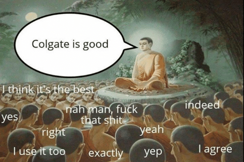 Memes, Shit, and Yeah: Colgate is good  Ithink it's the best  indeed  nah man, fuck  that shit  yes  right  yeah  I agree  T use it too  exactly  yep