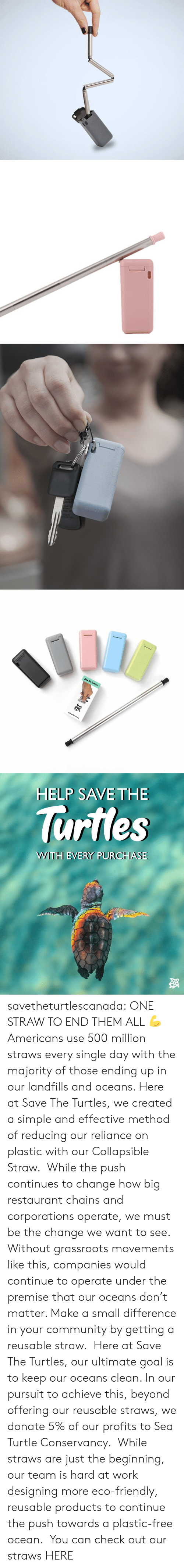Community, Tumblr, and Work: Collapsible Strow   HELP SAVE THE  lurtles  WWITH EVERY PURCHASE savetheturtlescanada: ONE STRAW TO END THEM ALL💪 Americans use 500 million straws every single day with the majority of those ending up in our landfills and oceans. Here at Save The Turtles, we created a simple and effective method of reducing our reliance on plastic with our Collapsible Straw. While the push continues to change how big restaurant chains and corporations operate, we must be the change we want to see. Without grassroots movements like this, companies would continue to operate under the premise that our oceans don't matter. Make a small difference in your community by getting a reusable straw. Here at Save The Turtles, our ultimate goal is to keep our oceans clean. In our pursuit to achieve this, beyond offering our reusable straws, we donate 5% of our profits to Sea Turtle Conservancy. While straws are just the beginning, our team is hard at work designing more eco-friendly, reusable products to continue the push towards a plastic-free ocean. You can check out our straws HERE
