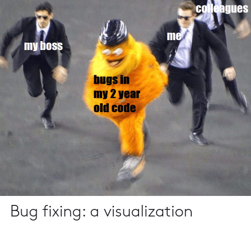 Old, Boss, and Code: colleagues  me  my boss  bugs in  my 2 year  old code Bug fixing: a visualization
