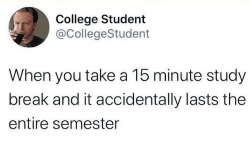 College, Break, and Student: College Student  @CollegeStudent  When you take a 15 minute study  break and it accidentally lasts the  entire semester