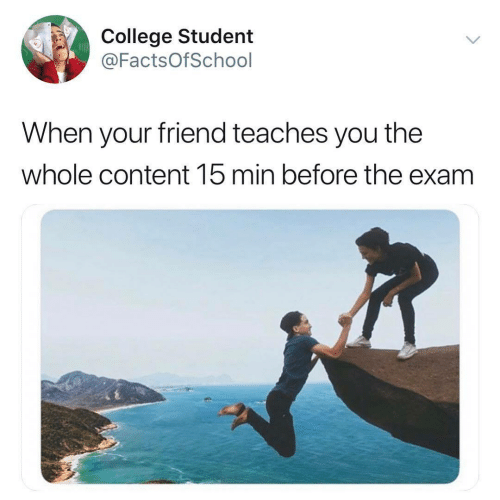 College, Content, and Student: College Student  @FactsOfSchool  When your friend teaches you the  whole content 15 min before the exam