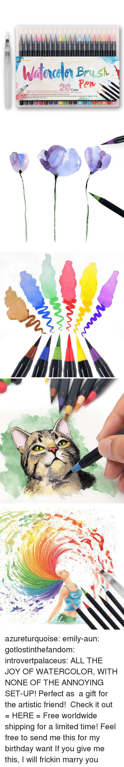 Birthday, Children, and Target: Color  Refilable, so pens last for much longer (ink bottles sold separately)  Watercolor Effect Dab a plain brush into water, and use on your page to thin out the ink and create a watercolor effect  LRemember to cover your pen after using to keep the brush tip weittsh Or it will be too dry to draw.  2.If the brush tip become too dry,please use some water to wash it then wipe dry the water,cover your pen,finally turm your pen down wait forhout 10 minutgs.  warning small parts not for children under 3 years azureturquoise: emily-aun:  gotlostinthefandom:  introvertpalaceus:  ALL THE JOY OF WATERCOLOR, WITH NONE OF THE ANNOYING SET-UP! Perfect as a gift for the artistic friend! Check it out = HERE =  Free worldwide shipping for a limited time!    Feel free to send me this for my birthday   want   If you give me this, I will frickin marry you