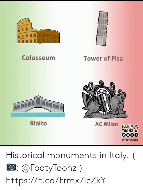 tower: Colosseum  Tower of Pisa  ACM  Rialto  AC Milan  FEOTY  TOONZ  0000  @footytoonz Historical monuments in Italy. (📷: @FootyToonz ) https://t.co/Frmx7IcZkY