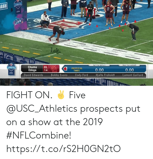 usc athletics: COMBINE  Chuma L  Edoga 14  COMBINE  UNOFFICIAL  TIMES  0.00  Hjalte FroholdtLamont Gaillard  0.00  VcrLzon  David Edwards  Bobby Evans  Cody Ford FIGHT ON. ✌   Five @USC_Athletics prospects put on a show at the 2019 #NFLCombine! https://t.co/rS2H0GN2tO