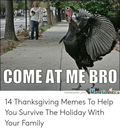 Family, Memes, and Thanksgiving: COME AT ME BRO  memecenter.com emeCenterLO 14 Thanksgiving Memes To Help You Survive The Holiday With Your Family