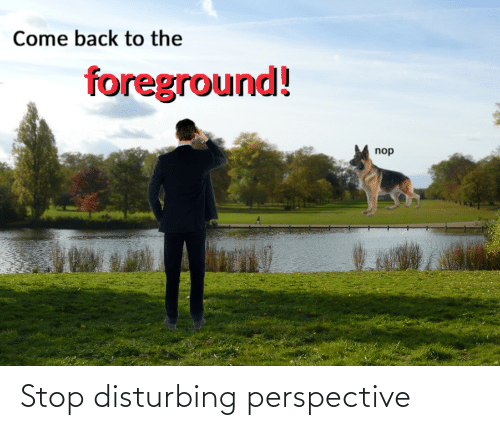 disturbing: Come back to the  foreground!  nop Stop disturbing perspective