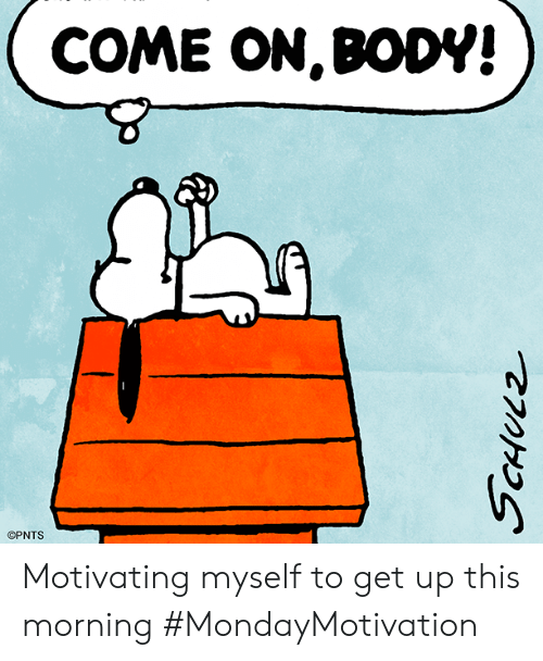 Memes, 🤖, and This: COME ON,BODV!  OPNTS Motivating myself to get up this morning #MondayMotivation