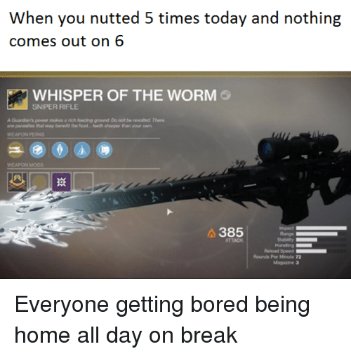 Bored, Break, and Home: comes out on 6  WHISPER OF THE WORM  SNIPER RIFLE  A Guardian's power makes a rich feeding ground Do not be revolted. There  are parasites that may benelit the host..feeth sharper than your own  WEAPON PERKS  WEAPON MODS  385  Range  ATTACK  Handing  Rounds Per Minute 72  Magazine 3