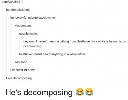 decomposer: comfy chairs 11:  bandtenpizzahut:  mnotveryfunny but pleaseloveme:  kingcroacus:  googlehomie:  hey man haven't heard anything from Beethoven in a while is he on hiatus  or something  beethoven hasnt heard anything in a while either  Too soon  HE DIED IN 1827  He's decomposing He's decomposing 😂😂