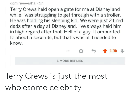 Disneyland, Terry Crews, and Sleeping: comineeyeaha 91h  Terry Crews held open a gate for me at Disneyland  while I was struggling to get through with a stroller.  He was holding his sleeping kid. We were just 2 tired  dads after a day at Disneyland. I've always held him  in high regard after that. Hell of a guy. It amounted  to about 5 seconds, but that's was all I needed to  know  6 MORE REPLIES Terry Crews is just the most wholesome celebrity