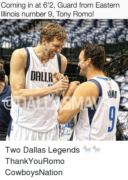 Number 9: Coming in at 6'2, Guard from Eastern  Illinois number 9, Tony Romo!  DALLA Two Dallas Legends 🐐🐐 ThankYouRomo CowboysNation ✭