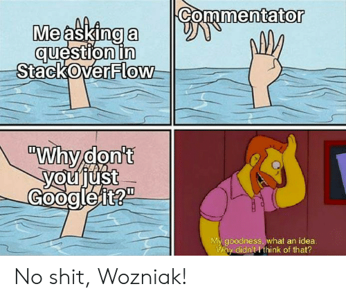 "goodness: Commentator  Me asking a  question in  StackOverFlow  ""Why don't  youjust  Googleit?""  My goodness, what an idea.  Why didn't I think of that? No shit, Wozniak!"