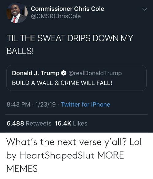 Crime, Dank, and Fall: Commissioner Chris Cole  @CMSRChrisCole  TIL THE SWEAT DRIPS DOWN MY  BALLS!  Donald J. Trump @realDonaldTrump  BUILD A WALL & CRIME WILL FALL!  8:43 PM .1/23/19 Twitter for iPhone  6,488 Retweets 16.4K Likes What's the next verse y'all? Lol by HeartShapedSlut MORE MEMES