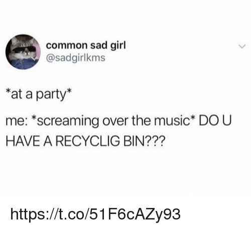 Memes, Music, and Party: common sad girl  @sadgirlkms  at a party*  me: *screaming over the music* DO U  HAVE A RECYCLIG BIN??? https://t.co/51F6cAZy93