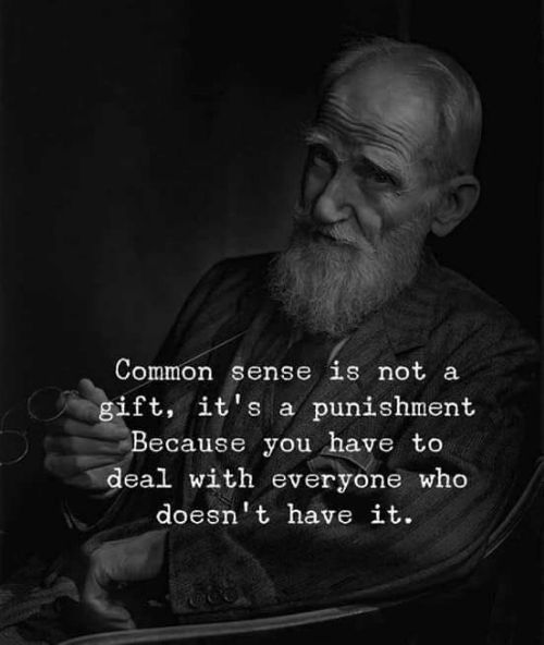 Common, Common Sense, and Who: Common sense is not a  gift, it's a punishment  Because you have to  deal with everyone who  doesn't have it.