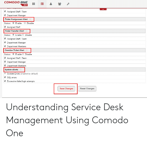 COMODO ONE MSP Assigned Staff Team Department Manager Ticket