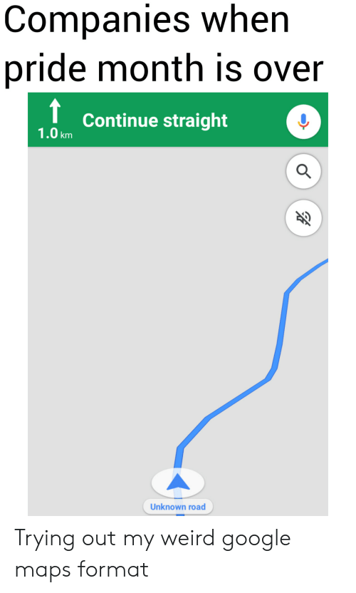 Google, Weird, and Google Maps: Companies when  pride month is over  Continue straight  1.0km  Unknown road Trying out my weird google maps format