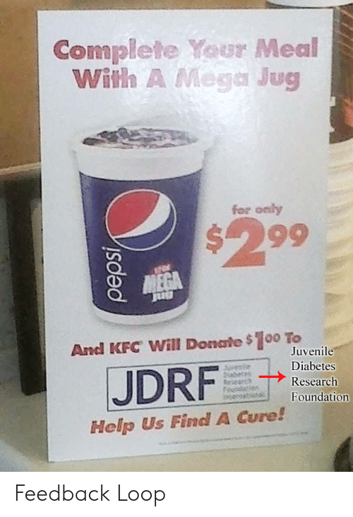 Juvenile: Complete Your Meal  With A Mega Jug  for only  $299  And KFC Will Donate $100 To  JDRF  Juvenile  Diabetes  Research  Foundation  Help Us Find A Cure! Feedback Loop