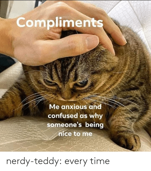 Nice: Compliments  Me anxious and  confused as why  someone's being  nice to me nerdy-teddy:  every time