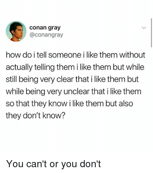 conan: conan gray  @conangray  how do i tell someone i like them without  actually telling them i like them but while  still being very clear that i like them but  while being very unclear that i like them  so that they know i like them but also  they don't know? You can't or you don't