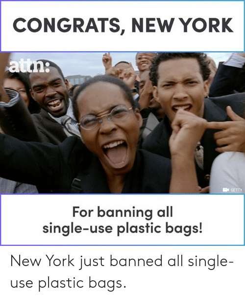 Banning: CONGRATS, NEW YORK  GETTY  For banning al  single-use plastic bags! New York just banned all single-use plastic bags.