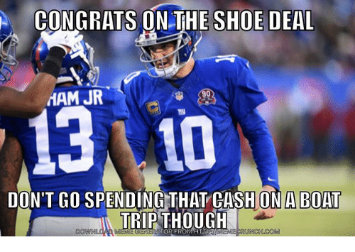Mamming: CONGRATS ON THE SHOE DEAL  MAM JR  13 10  DON'T GO SPENDING THAT CASH ON A BOAT  TRIP THOUGH