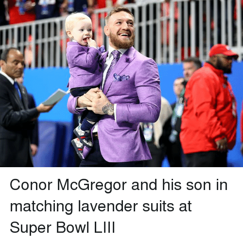 Conor: Conor McGregor and his son in matching lavender suits at Super Bowl LIII