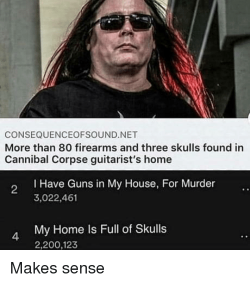 Firearms: CONSEQUENCEOFSOUND.NET  More than 80 firearms and three skulls found in  Cannibal Corpse guitarist's home  I Have Guns in My House, For Murder  3,022,461  2  My Home Is Full of Skulls  2,200,123  4 Makes sense
