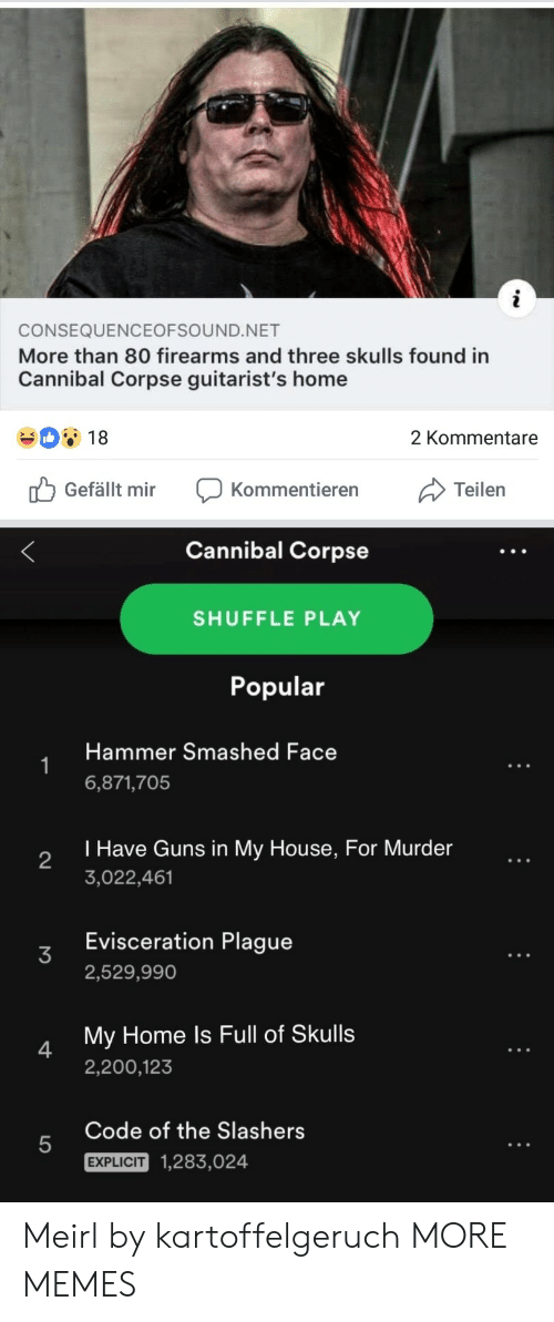 Firearms: CONSEQUENCEOFSOUND.NET  More than 80 firearms and three skulls found in  Cannibal Corpse guitarist's home  18  2 Kommentare  Gefällt mir Kommentierern  Cannibal Corpse  SHUFFLE PLAY  Popular  Hammer Smashed Face  6,871,705  I Have Guns in My House, For Murder  3,022,461  2  Evisceration Plague  2,529,990  My Home ls Full of Skulls  2,200,123  4  Code of the Slashers  5  EXPLICIT  1,283,024 Meirl by kartoffelgeruch MORE MEMES