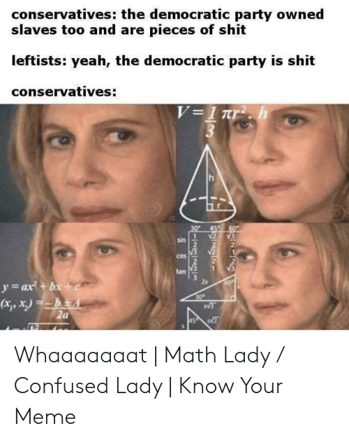 Confused Lady Meme: conservatives: the democratic party owned  slaves too and are pieces of shit  leftists: yeah, the democratic party is shit  conservatives:  45  N2 3  2  sin  cos  tan  y- ax +b  x,x)  1  2a Whaaaaaaat | Math Lady / Confused Lady | Know Your Meme