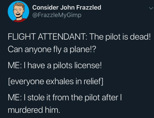 Pilots: Consider John Frazzled  @FrazzleMyGimp  FLIGHT ATTENDANT: The pilot is dead!  Can anyone fly a plane!?  ME: I have a pilots license!  [everyone exhales in relief]  ME: I stole it from the pilot after l  murdered him