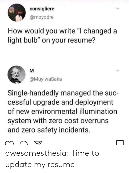 "Managed: consigliere  @moyodre  How would you write ""I changed a  light bulb"" on your resume?  M  @MuyiwaSaka  Single-handedly managed the suc-  cessful upgrade and deployment  of new environmental illumination  system with zero cost overruns  and zero safety incidents. awesomesthesia:  Time to update my resume"